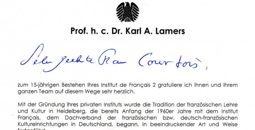 Brief Prof. h. c. Dr. Karl Lamers an Courtois